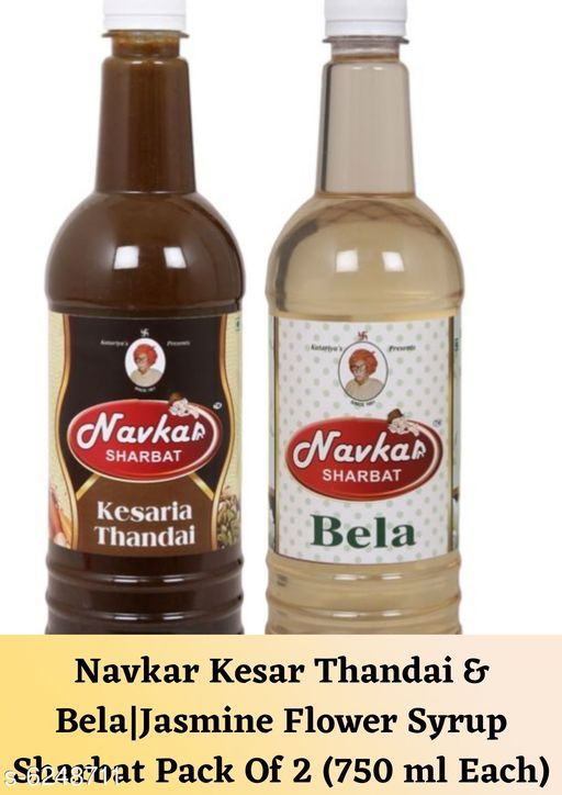 Juices Navkar Kesar Thandai & Bela|Jasmine Flower Syrup Sharbat Pack Of 2 (750 ml Each)  *Product Name * Navkar Kesar Thandai & Bela|Jasmine Flower Syrup Sharbat Pack Of 2 (750 ml Each)  *Brand Name* Navkar  *Product Type * Thandai And Sharbat  *Capacity * 750 ml Each  *Flavour * Kesar And Bela  *Multipack * Pack Of 2  *Sizes Available* Free Size *    Catalog Name: Special Sharbat & Thandai CatalogID_987595 C89-SC1777 Code: 295-6248711-