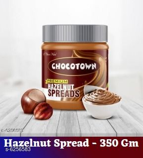 Sauces & Pickles Jams, Spreads and Sauces Hazelnut Spreads 350 gram   *Product Name* Hazelnut Spreads  *Brand Name* Chocotown  *Multipack* 1  *Capacity* 350 gram Each  *Sizes Available* Free Size *   Catalog Rating: ★4.1 (11)  Catalog Name:  Jams, Spreads and Sauces Vol 1 CatalogID_989803 C89-SC1742 Code: 272-6256583-