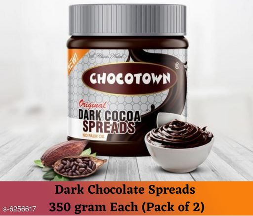 Sauces & Pickles  Jams, Spreads and Sauces - 350 gram Each (Pack of 2)  *Product Name* Dark Chocolate Spreads  *Brand Name* Chocotown  *Multipack* 2  *Capacity* 350 gram Each  *Sizes Available* Free Size *   Catalog Rating: ★4.4 (18)  Catalog Name:  Jams, Spreads and Sauces - 350 gram CatalogID_989816 C89-SC1742 Code: 204-6256617-