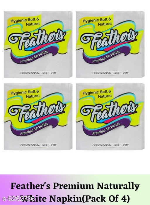 Tissues Feather's Premium Naturally White Napkin(Pack Of 4)  *Material* Paper  *Size* Free Size  *Pack* Pack Of 4  *Sizes Available* Free Size *    Catalog Name: Fancy Table Napkins CatalogID_991480 C89-SC1760 Code: 681-6262736-