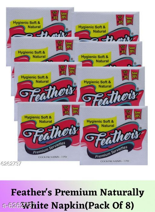 Tissues Feather's Premium Naturally White Napkin(Pack Of 8)  *Material* Paper  *Size* Free Size  *Pack* Pack Of 8  *Sizes Available* Free Size *    Catalog Name: Fancy Table Napkins CatalogID_991480 C89-SC1760 Code: 062-6262737-