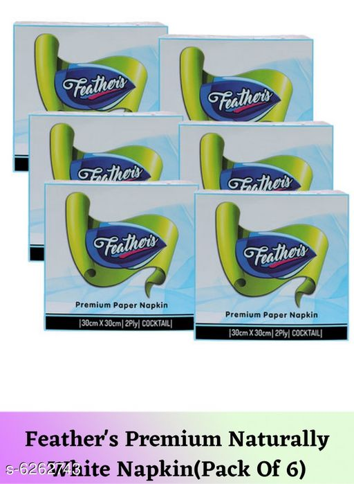 Tissues Feather's Premium Naturally White Napkin(Pack Of 6)  *Material* Paper  *Size* Free Size  *Pack* Pack Of 6  *Sizes Available* Free Size *    Catalog Name: Fancy Table Napkins CatalogID_991480 C89-SC1760 Code: 062-6262743-