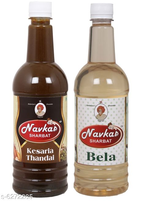 Spices Best Quality Navkar Sharbat Combo   *Product Name* Navkar Kesar Thandai & Bela|Jasmine Flower Syrup Sharbat Pack Of 2 (750 ml Each)  *Brand Name* Navkar  *Product Type* Kesar Thandai & Bela Sharbat  *Capacity* 750 ml Each  *Multipack* Pack Of 2  *Sizes Available* Free Size *    Catalog Name: Best Quality Navkar Sharbat Combo CatalogID_994191 C89-SC1737 Code: 884-6272285-