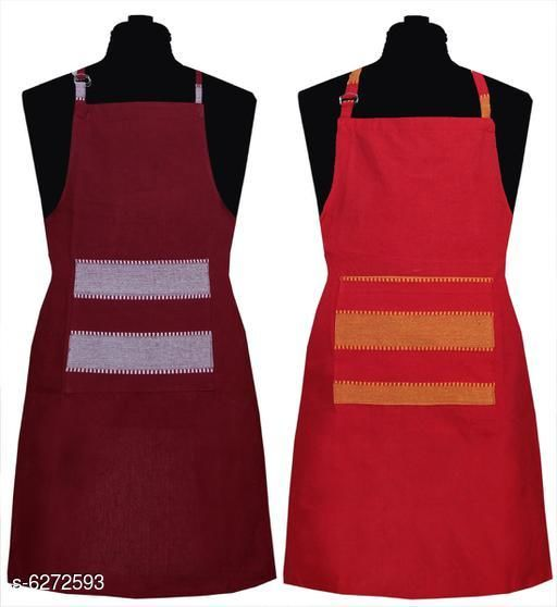 Aprons Kitchen Linen Set  Apron Set Of 2 Piece  *Material* Cotton  *Sizes* (Length Size  *Pattern* Solid  *Pack* Pack of 2  *Sizes Available* Free Size *    Catalog Name: Kitchen Linen Set  Apron Set Of 2 Piece CatalogID_994285 C129-SC1633 Code: 992-6272593-