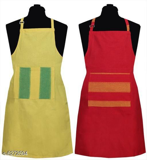 Aprons Kitchen Linen Set  Apron Set Of 2 Piece  *Material* Cotton  *Sizes* (Length Size  *Pattern* Solid  *Pack* Pack of 2  *Sizes Available* Free Size *    Catalog Name: Kitchen Linen Set  Apron Set Of 2 Piece CatalogID_994285 C129-SC1633 Code: 932-6272594-