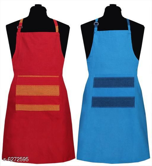 Aprons Kitchen Linen Set  Apron Set Of 2 Piece  *Material* Cotton  *Sizes* (Length Size  *Pattern* Solid  *Pack* Pack of 2  *Sizes Available* Free Size *    Catalog Name: Kitchen Linen Set  Apron Set Of 2 Piece CatalogID_994285 C129-SC1633 Code: 992-6272595-