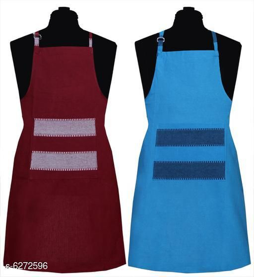 Aprons Kitchen Linen Set  Apron Set Of 2 Piece  *Material* Cotton  *Sizes* (Length Size  *Pattern* Solid  *Pack* Pack of 2  *Sizes Available* Free Size *    Catalog Name: Kitchen Linen Set  Apron Set Of 2 Piece CatalogID_994285 C129-SC1633 Code: 992-6272596-