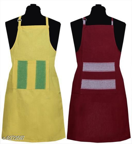 Aprons Kitchen Linen Set  Apron Set Of 2 Piece  *Material* Cotton  *Sizes* (Length Size  *Pattern* Solid  *Pack* Pack of 2  *Sizes Available* Free Size *    Catalog Name: Kitchen Linen Set  Apron Set Of 2 Piece CatalogID_994285 C129-SC1633 Code: 992-6272597-