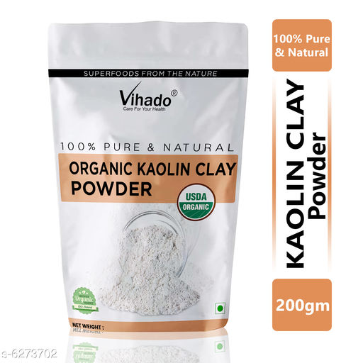 Vihado Natural Kaolin Clay Powder For Acne, Blackheads And For Glowing Skin 200g (Pack of 1)