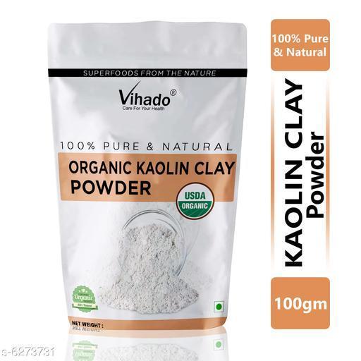 Vihado 100% Organic Kaolin Clay Powder for Acne, Blackheads & Glowing Skin 100g (Pack of 1)