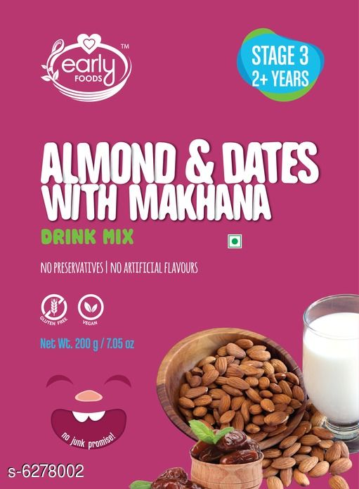Baby Wellness  Baby Health Drinks  *Product Name* Almond & Date Drink with Makhana  *Brand Name* Early Foods  *Product Type* Baby Health Drinks  *Capacity* 200 gm  *Multipack* 1  *Sizes Available* Free Size *    Catalog Name: Baby Health Drinks CatalogID_995751 C51-SC1666 Code: 153-6278002-