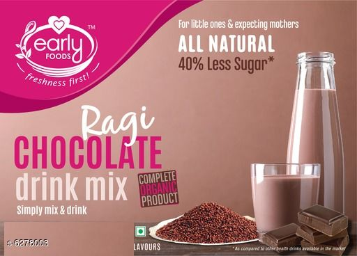 Baby Wellness  Baby Health Drinks  *Product Name* Organic Ragi Chocolate Drink  *Brand Name* Early Foods  *Product Type* Baby Health Drinks  *Capacity* 200 gm  *Multipack* 1  *Sizes Available* Free Size *    Catalog Name: Baby Health Drinks CatalogID_995751 C51-SC1666 Code: 573-6278003-