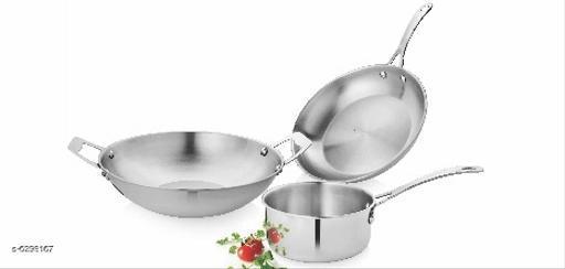 Vinayak International SS Cookware Set of 3pcs (26 cm Kadai-2600ml | 23cm Frypan-1380ml | 15 cm Sauce Pan - 1000ml.