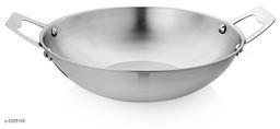 Vinayak International SS Stainless Steel Kadai/Wok, Dia 26.7 cm, 2600 ml, Silver