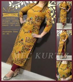 Women Rayon Straight Printed Mustard Kurti