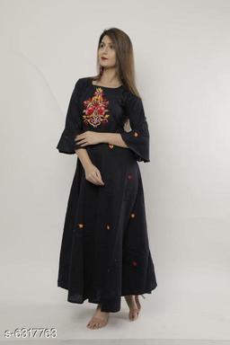 Women's Embroidered Cotton Long Anarkali Kurti