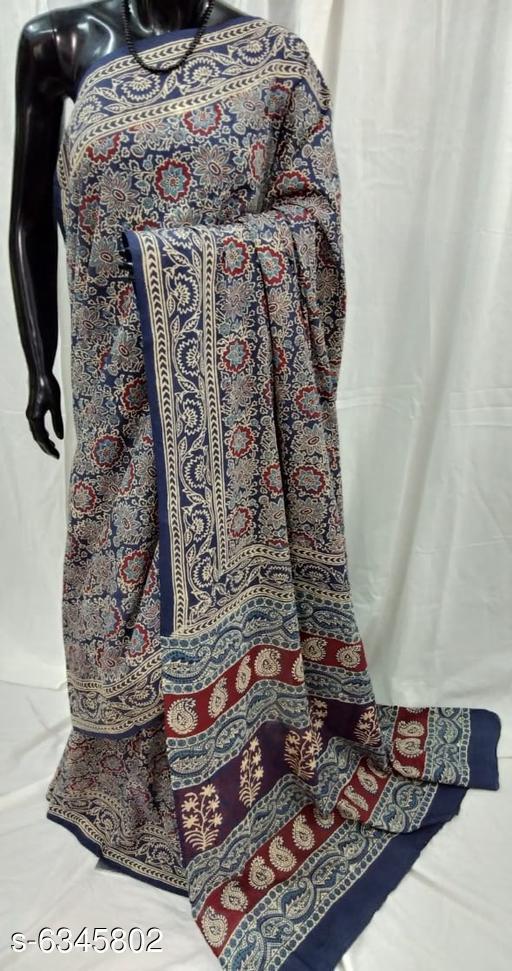 Ajrakh Printed Mulmul Cotton Saree