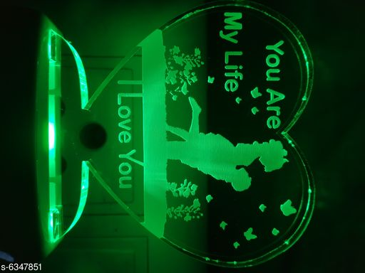 Love You are my Life Couple Night Lamp with 7 Color Changing 9 cm (Multiolor, Pack Of 1)