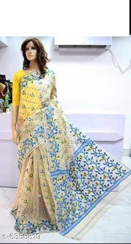 Cotton silk jamdani handloom Saree