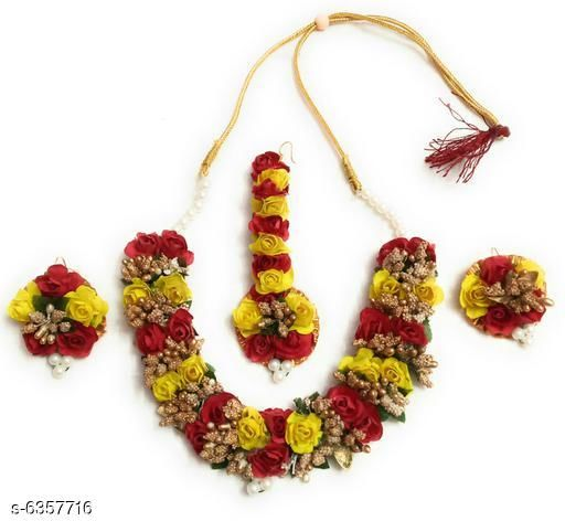 Jewellery Set Floral Handmade Women's Jewellery Set  *Base Metal* paper  *Plating* Gold Plated  *Stone Type* Artificial Flower & Beads Work  *Sizing* Adjustable  *Type* Necklace Earrings Maang Tikka  *Multipack* 1  *Description* It Has 1 Piece Of Necklace , 1 Piece Of Maang Tikka & 1 Pair Of Earring  *Sizes Available* Free Size *    Catalog Name: Allure Unique Jewellery Sets CatalogID_1010794 C77-SC1093 Code: 472-6357716-