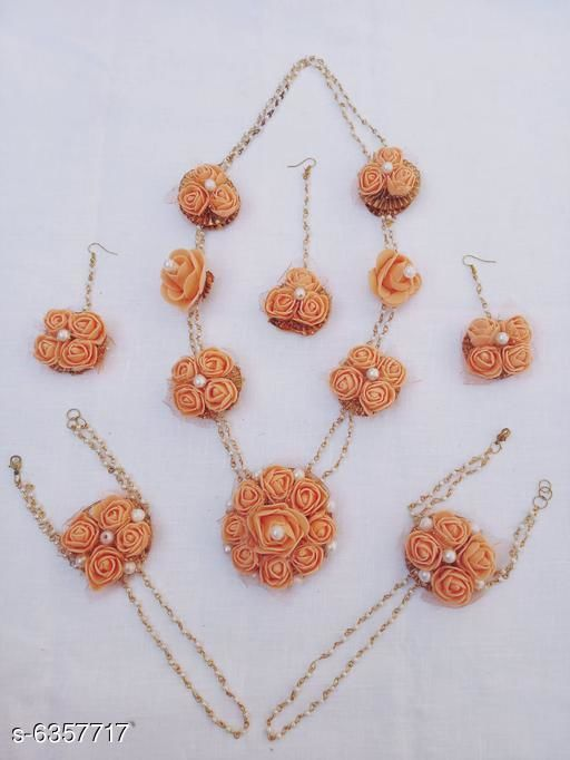 Jewellery Set Floral Handmade Women's Jewellery Set  *Base Metal* Foam  *Plating* Gold Plated  *Stone Type* Artificial Flower & Beads Work  *Sizing* Adjustable  *Type* Necklace Earrings Bracelet & Maang Tikka  *Multipack* 1  *Description* It Has 1 Piece Of Necklace , 1 Piece Of Maang Tikka, 1 pair of bracelet & 1 Pair Of Earring  *Sizes Available* Free Size *    Catalog Name: Allure Unique Jewellery Sets CatalogID_1010794 C77-SC1093 Code: 734-6357717-