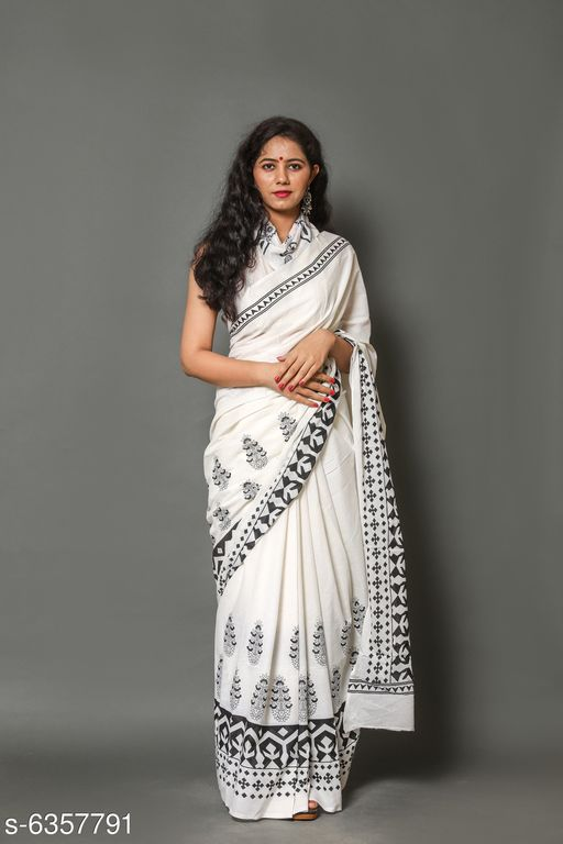 Stylish Printed Mul-Cotton Saree with Blouse Piece