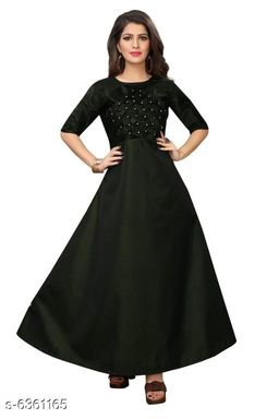 Women's Self-Design Olive Satin Dress