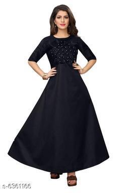 Women's Self-Design Navy Blue Satin Dress