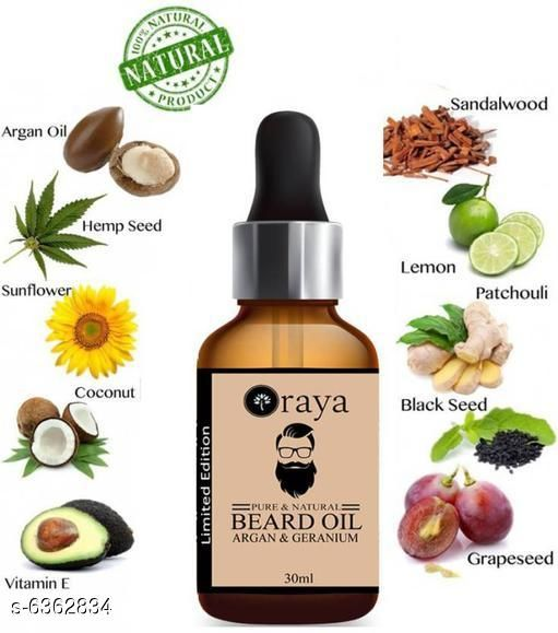 Men's Grooming Advanced Relief Beard Oil  *Brand Name* Raya  *Product Type* Beard Oil  *Capacity* 30ml  *Multipack* 1  *Sizes Available* Free Size *    Catalog Name:  Advanced Relief Beard Oil  CatalogID_1011609 C51-SC1662 Code: 581-6362834-