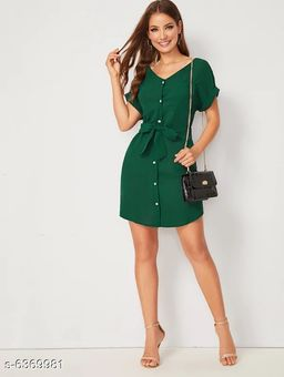 Edgydeal Solid Button Front Rolled Cuff Belted Shirt Dress