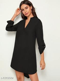 Edgydeal Solid Tab Sleeve High Low Hem Dress