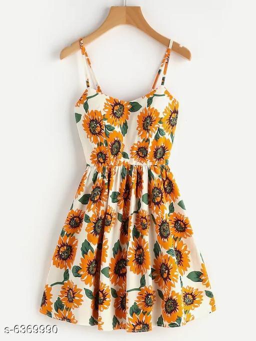 Crisscross Back A Line Cami Dress Sunflower Print