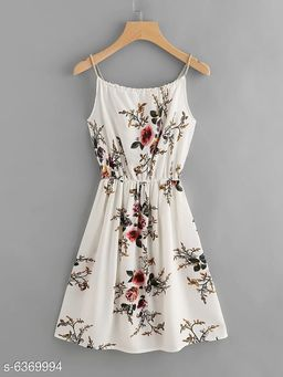 Edgydeal Women's White Floral Print Self Tie Cami Dress
