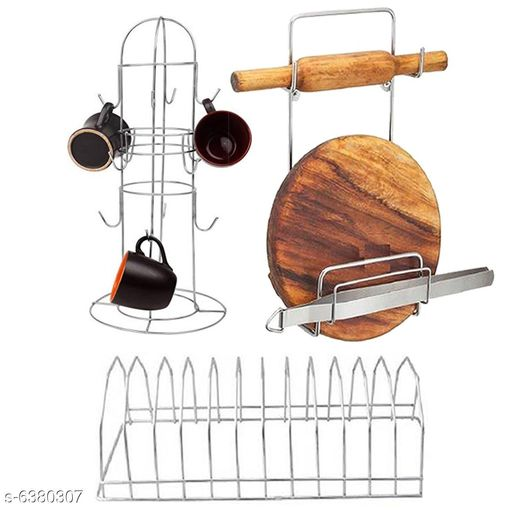 OC9 Cup Stand, Chakla Belan Stand and Plate Stand Combo Steel Kitchen Rack  (Silver)