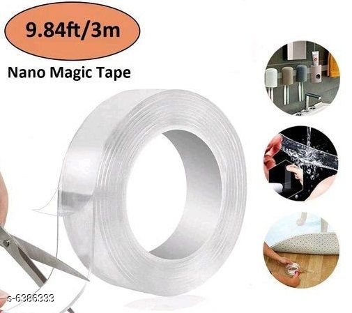Others Magic Double Sided Reusable Tape Product Name: Magic Double sided Reusable 1 meter tape pack of 2 Material: Nano PU Gel Multipack: Pack of 2 Size:  500*3*0.1cm Country of Origin: India Sizes Available: Free Size   Catalog Rating: ★3.7 (79)  Catalog Name: Magic Double Sided Reusable Tape CatalogID_1015748 C81-SC1274 Code: 272-6386333-