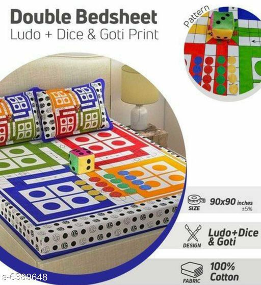 Comfy 100% Cotton Double Bedsheet with Dice and Goti