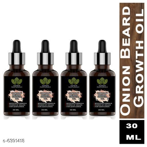 Haria Naturals Onion Beard Growth Oil For Men Infused with the Power of Onion Oils for Strong and Healthy Beard growth, Hair Oil 30 ml (pack of 4) 120 ml