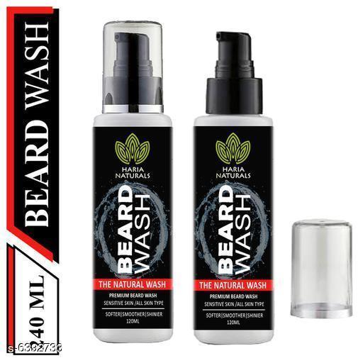 Haria Naturals 100% Pure Beard Wash Men Softer+Smoother+Shinier Beard Men 120 ml (pack of 2) 240ml