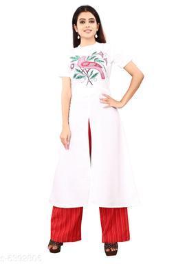 Women's Printed White Cotton Kurti