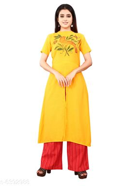 Women Cotton Slub High- Slit Printed Yellow Kurti