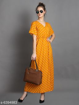 Women's Printed Wrap Crepe Dress