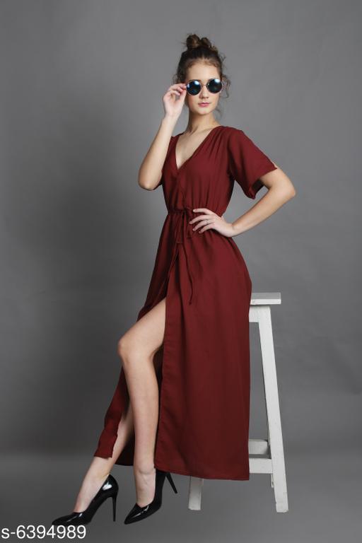 Women's Solid Wrap Crepe Dress