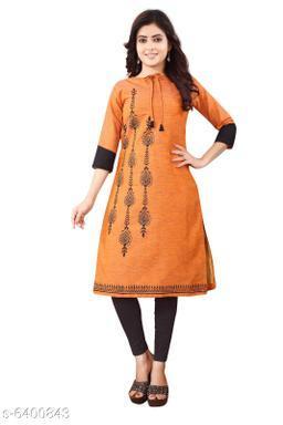 Women Rayon Slub A-line Printed Orange Kurti