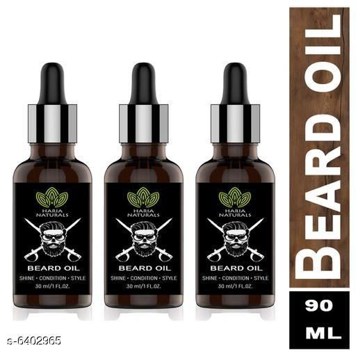 Haria Naturals Premium Beard Oil- Enriched with Rose & Sandalwood Oil For Faster Beard Growth Hair Oil 30 ml (pack of 3) 90 ml