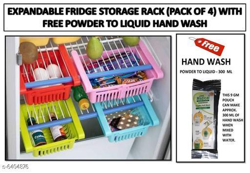 EXPANDABLE FRIDGE STORAGE RACK (SET OF 4) WITH FREE POWDER TO LIQUID HAND WASH