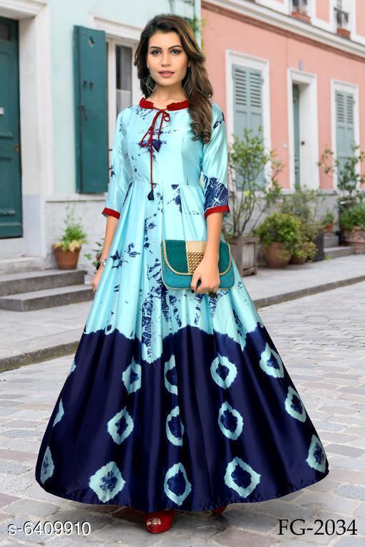 Women's Printed Blue Silk Dress