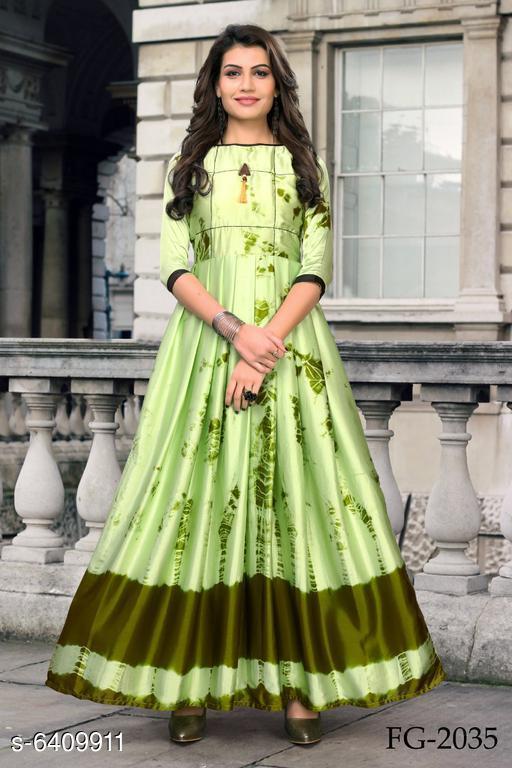Women's Printed Green Silk Dress