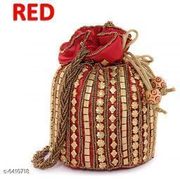 Stylish Women's Red Polyester Potlis