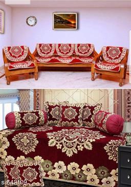 Classic Chenille Diwan Set & Sofa Covers Combo