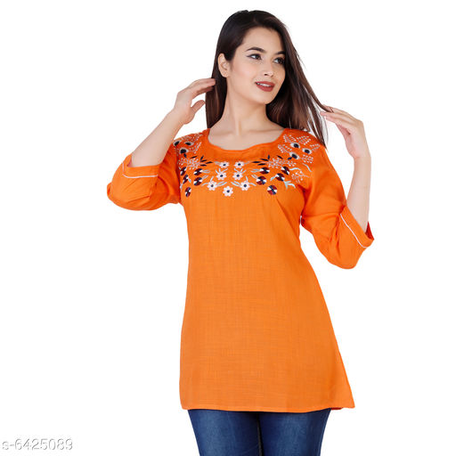 Women's Embroidered Orange Rayon Top
